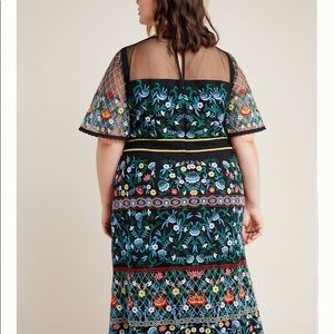 Anthropologie Esther Embroidered Midi Dress  18W